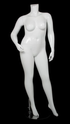 Glossy White  Female Plus Size 16 Mannequin - Right Hand on Hip