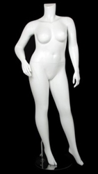 Matte White Female Plus Size 16 Mannequin - Right Hand on Hip