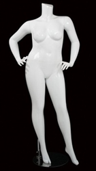 Glossy White  Female Plus Size 16 Mannequin - Leg Out Hands on Hips