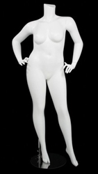 Matte White Female Plus Size 16 Mannequin - Leg Out Hands on Hips