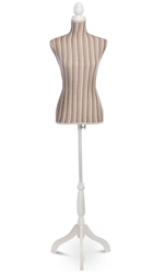 Striped Pinnable Female Torso Dress Form with Tripod Base