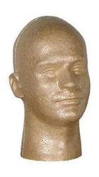 "Male Suntanned Styrofoam Display Head measuring 11.5"" Tall.  Simple way to show off hats, wigs and any head gear."