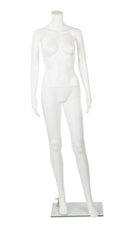Female Mannequin made of Unbreakable Plastic in Glossy White. Very durable and excellent for high-traffic areas or trade shows.