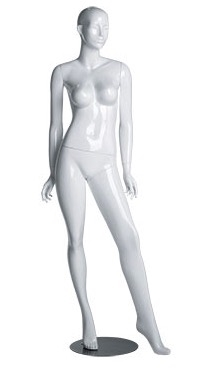 Gloss White Abstract Female Mannequin - Left Leg Out