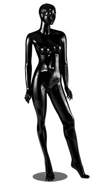 Gloss Black Abstract Female Mannequin - Left Leg Out