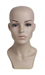 Realistic Female Plastic Mannequin Head with Base