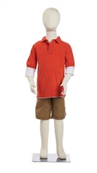 7-Year Old Flexable Child Mannequin made of Bendable Fabric & Foam in white. Very durable and excellent for high-traffic areas or trade shows.