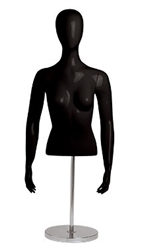 Female Gloss Black Torso Display With Egghead