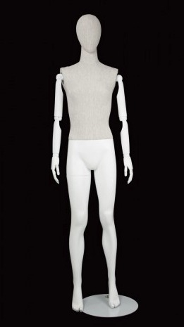 Linen Mixed Fabric Female Mannequin Egghead with Wooden Posable Arms