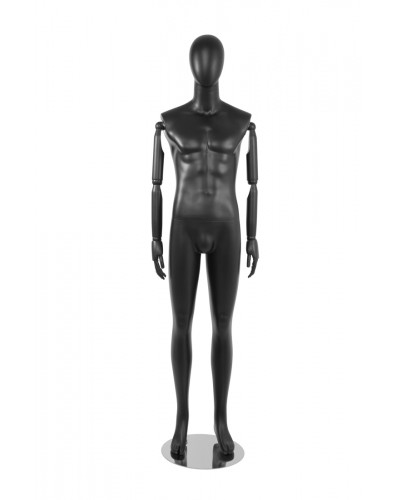 Matte Black Male Mannequin with Bendable Wood Arms