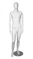 Matte White Male Mannequin With Posable Wooden Arms