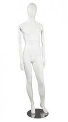 Matte White Male Mannequin with Posable Wood Arms,