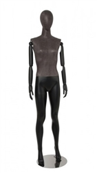 Matte Black Linen Mixed Fabric Female Mannequin with Wooden Posable Arms