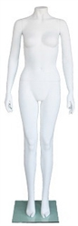 Matte White Headless Female Mannequin Arms at Side