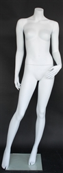 Matte White Female Headless Mannequin Hand on Hip
