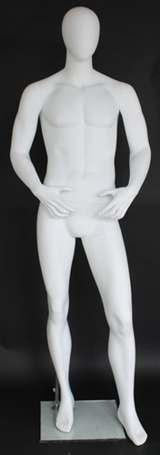 "6' 3"" Matte White Egghead Male Mannequin - Arms in Front"