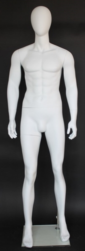 Lean Muscular Matte White Male Egghead Mannequin