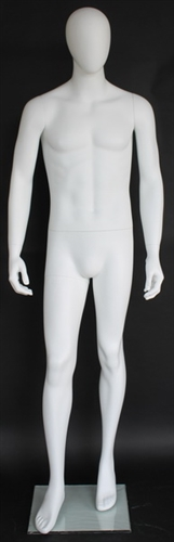 "6' 2"" Matte White Egghead Male Mannequin - Leg Out"