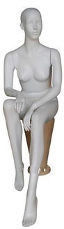 Matte White Female Mannequin Seated with Hands in Lap
