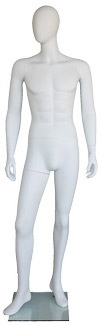 Matte White Male Egghead Mannequin - Right Leg Bent