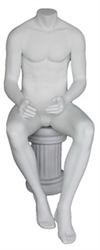 Matte White Male Headless Mannequin Sitting - Straight Forward