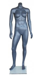 Headless Athletic Build Matte Grey Female Mannequin from ZingDisplay.com