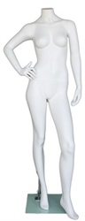 "Matte White 5' 5"" Headless Female Mannequin - Right Hand on Hip"