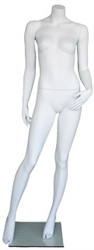 "Matte White 5' 4"" Headless Female Mannequin - Right Leg Out"