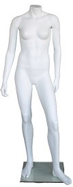 5' Female Matte White Headless Mannequin