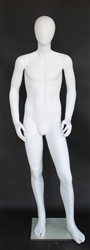 "Matte White Male Egghead Mannequin 5'7"" Height"