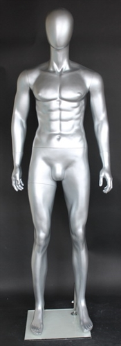 Lean Muscular Metallic Silver Male Egghead Mannequin