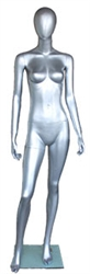 Metallic Silver Female Egghead Mannequin - Right Leg Bent