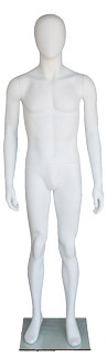 "5'8"" Abstract Egghead Matte White Male Mannequin"