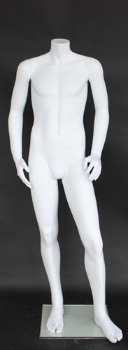 "Matte White Male Headless Mannequin Short 5'3"" Height"