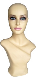 Fleshtone Female Mannequin Head with Makeup