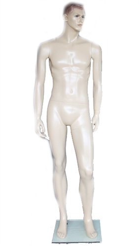 6' Realistic Fleshtone Male Fiberglass Mannequin with Moulded Features - From ZingDisplay.com