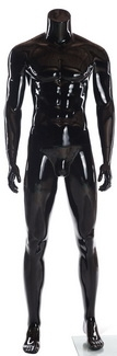 Glossy Black Male Headless Mannequin Athletic