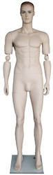Realistic Flesh Tone Bendable Elbows Male Mannequin