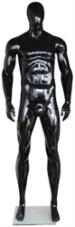 Glossy Black Athletic Egghead Male Mannequin