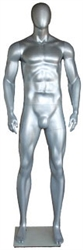 Metallic Silver Athletic Egghead Male Mannequin