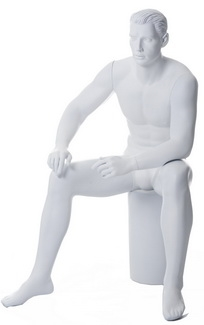 Abstract Matte White Seated Male Mannequin
