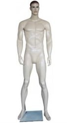 "6'4"" Realistic Muscular Male FIberglass Mannequin from www.zingdisplay.com.  Standing pose with arms at his side. Durable Fiberglass ideal for trade shows or busy showrooms."