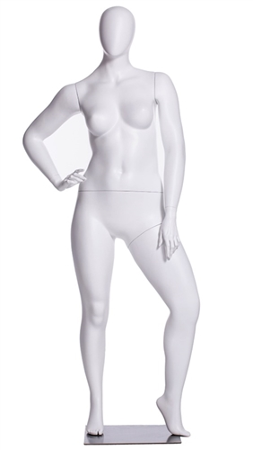 Matte White Female Egghead Mannequin Plus Size Hand on Hip