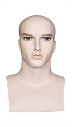 Photo: Realistic Light Fleshtone Male Display Head | Hat Display Form | head forms | hat mannequin