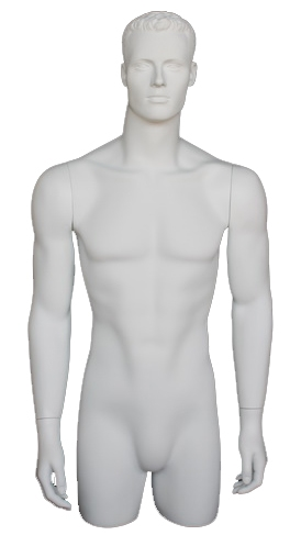 Matte White Male 3/4 Torso with Arms at his Sides from www.zingdisplay.com