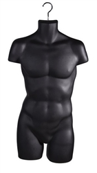 Matte Black Thick Injection Plastic Male 3/4 Torso Form