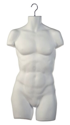 Matte White Thick Injection Plastic Male 3/4 Torso Form