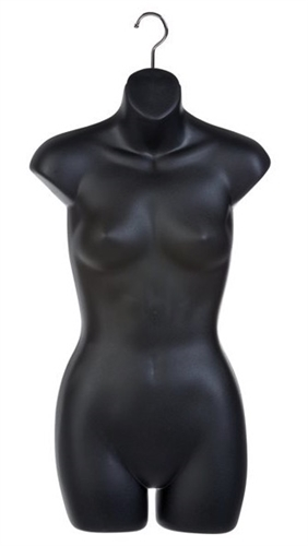 Matte Black Thick Injection Plastic Female 3/4 Torso Form