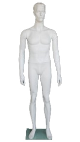 "Matte White 5'8"" Male Mannequin with Realistic Facial Features Available From Zing Display"