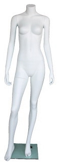 "Matte White Female Headless Mannequin 5'4"" Height"